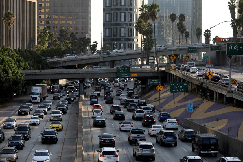 Traffic in downtown Los Angeles seen from the 110 Freeway.