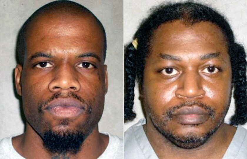 Clayton Lockett, left, and Charles Warner are scheduled to be executed in Oklahoma and have sued to obtain details about the drugs that will be used to kill them.