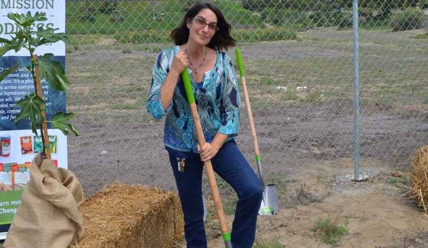 """Farm Lab Director Mim Michelove stands at the future """"food forest,"""" on the western edge of Farm Lab at 441 Quail Gardens Drive. Moments later, she received a $10,000 check from the Seeds of Change grant program to help finance the forest."""