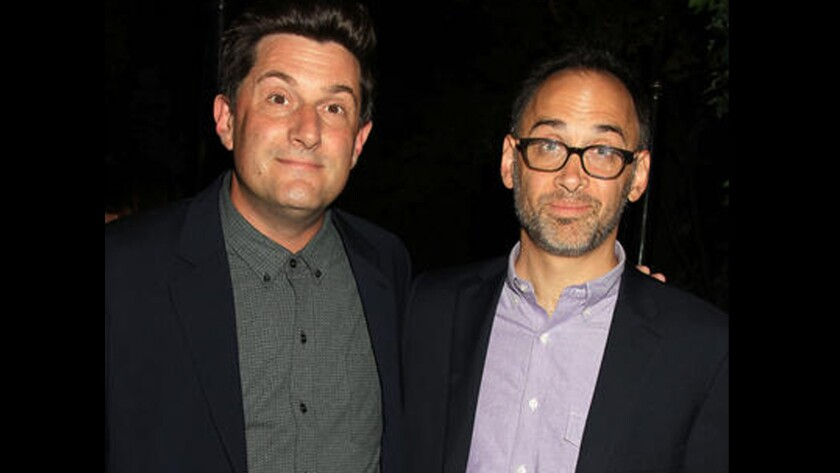 """Michael Showalter and David Wain are shown at the world premiere of their Netflix series """"Wet Hot American Summer: First Day of Camp"""" on July 22 in New York."""