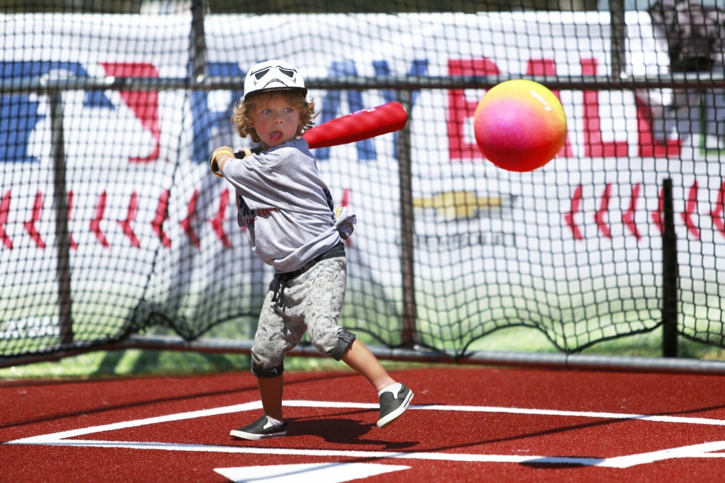 Jackson Campbell, 3, prepares to hit the ball at Play Ball Park.