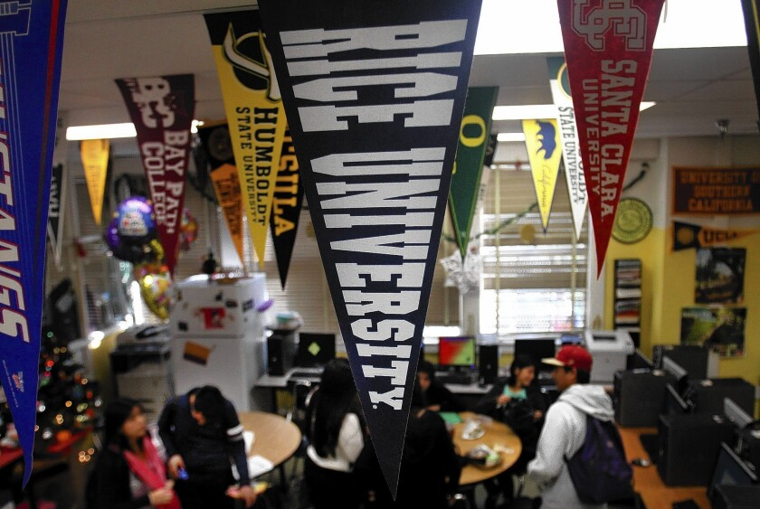 College counselor Teresa Carreto's room at Roosevelt High in Los Angeles