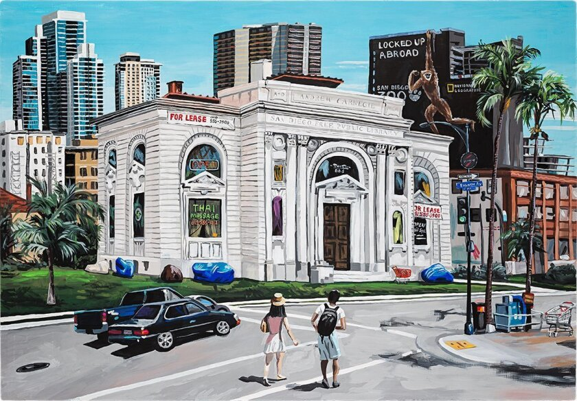 Painter-sculptor Jean Lowe envisioned an adaptive reuse of the former Carnegie Library in downtown San Diego (1902-1952), inspired by the Wilshire Galleria in Los Angeles, a luxury department store that closed in 1990 and is now a commercial hub of Los Angeles' Koreatown.