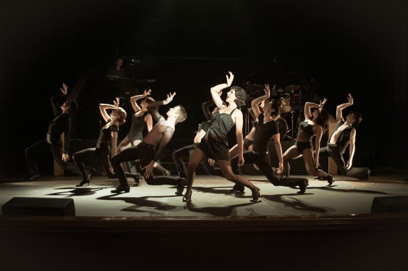 "Natalie Nucci as Velma Kelly leads a dance scene in Welk Resort Theatre's ""Chicago."" CREDIT: Sharyn Sakimoto"