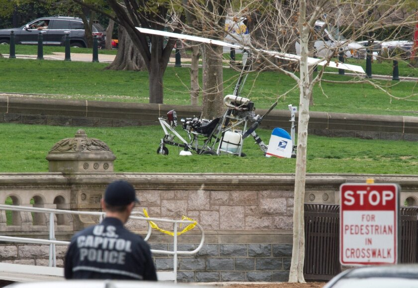 A gyrocopter was landed just outside the U.S. Capitol on April 15.