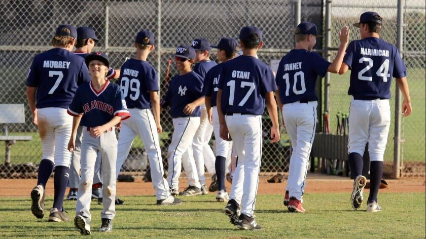 Ocean View Yankees celebrate after their win over the Seaview Red Sox during the Ocean View Little L