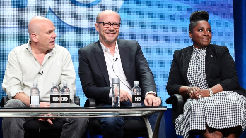 """From left, writer/executive producer David Simon, director/executive producer Paul Haggis and actress LaTaya Richardson speak onstage during the """"Show Me A Hero"""" panel."""