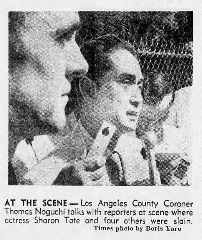 Archival photo from Aug. 10, 1969, of Los Angeles County Coroner Thomas Noguchi