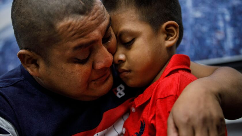 LOS ANGELES, CALIF. -- SATURDAY, JULY 14, 2018: Guatemalan asylum seeker Hermelindo Che Coc cries as