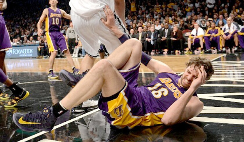 Pau Gasol is expected to miss at least six to eight weeks after suffering a tear to his plantar fascia in his right foot.