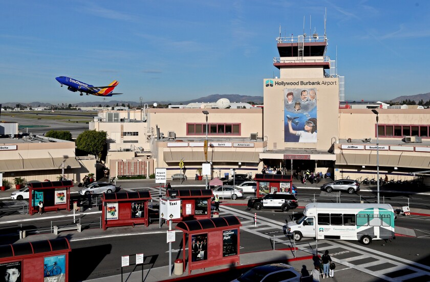 A Southwest airplane takes off from Hollywood Burbank Airport