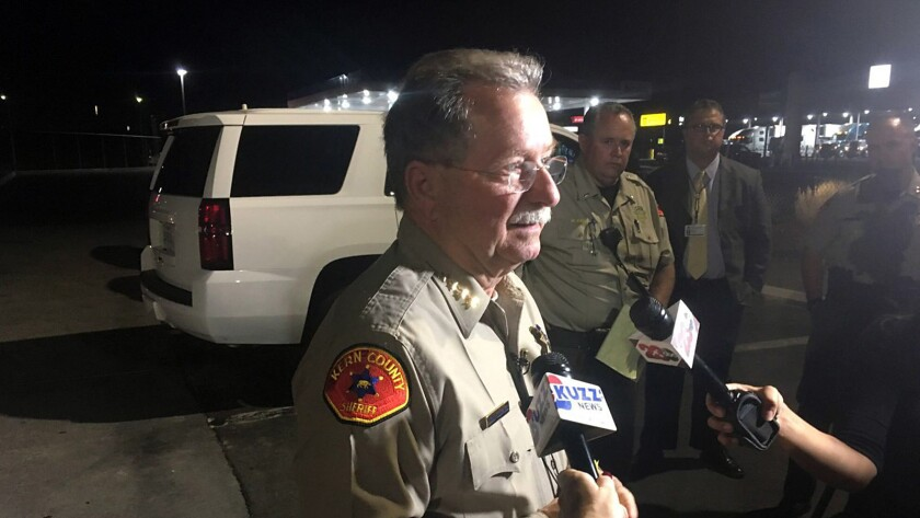 Kern County Sheriff Donny Youngblood talks to reporters as authorities investigate back-to-back shootings in Bakersfield on Sept 12.