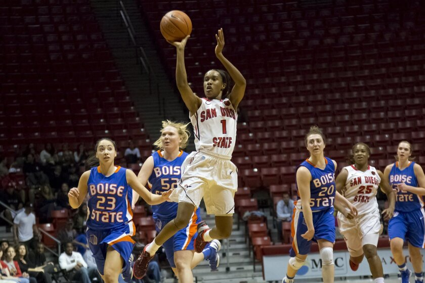 Aztecs #1 Chelsea Hopkins gets a shot off in the first half at the buzzer. Aztecs went on to beat Boise State 86-45.