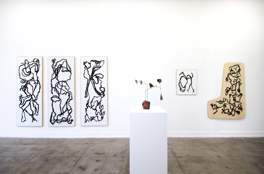 """Installation view of """"Maskiewicz Woolsey / Zappas y 'M P L N T"""" at Ochi Projects, 2019."""
