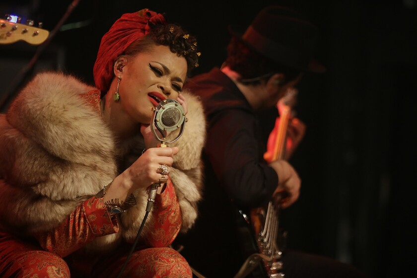 "Andra Day, shown in a file photo taken at the El Rey Theatre in Los Angeles, performed her anthem ""Rise Up"" at the ""One World: Together at Home"" event aimed at helping fight the coronavirus pandemic."