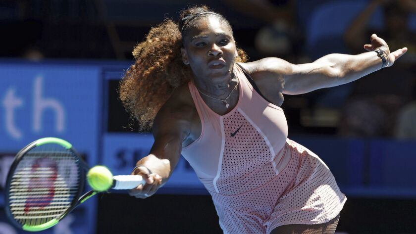 Serena Williams plays a shot during the Hopman Cup.