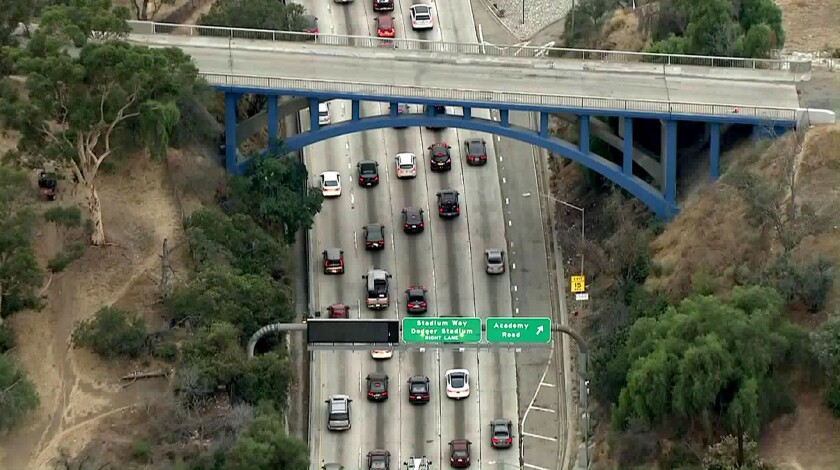 LOS ANGELES CA OCTOBER 31, 2017 -- Park Row Drive bridge over the 110 freeway near Dodger Stadium has been painted Dodger Blue.