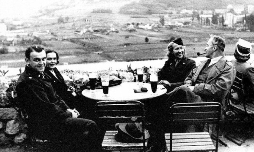 Maria Gulovich, second from right, with Allen Dulles, with pipe, who was then an OSS officer and later head of the CIA, in Prague in 1945. Gulovich was pressed into becoming a courier for the underground resistance after having sheltered a Jewish woman and child. After the war she became an American citizen, eventually settling in Ventura County.