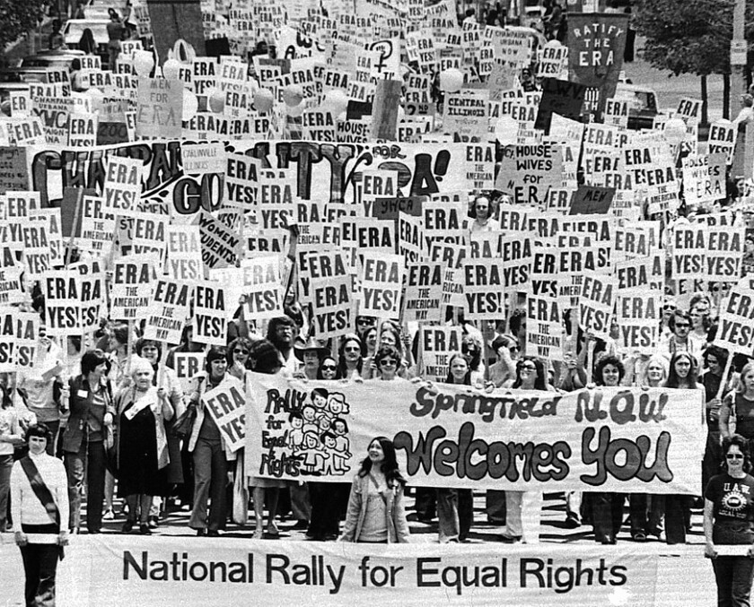A pro-Equal Rights Amendment demonstration in 1976 in Illinois, one of the states that did not approve ratification.