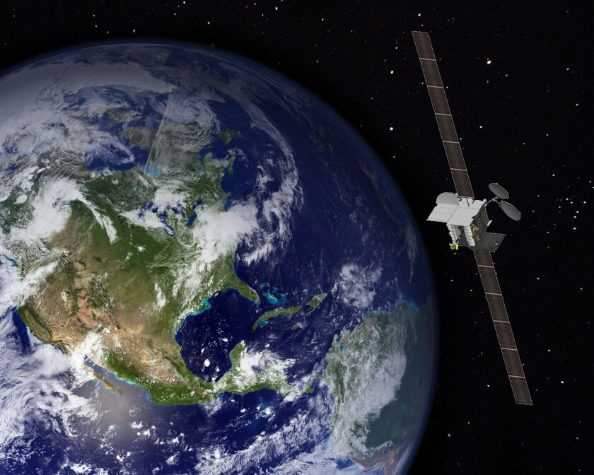 An artist rendering of a satellite system from Boeing, which built the ViaSat-2 satellite