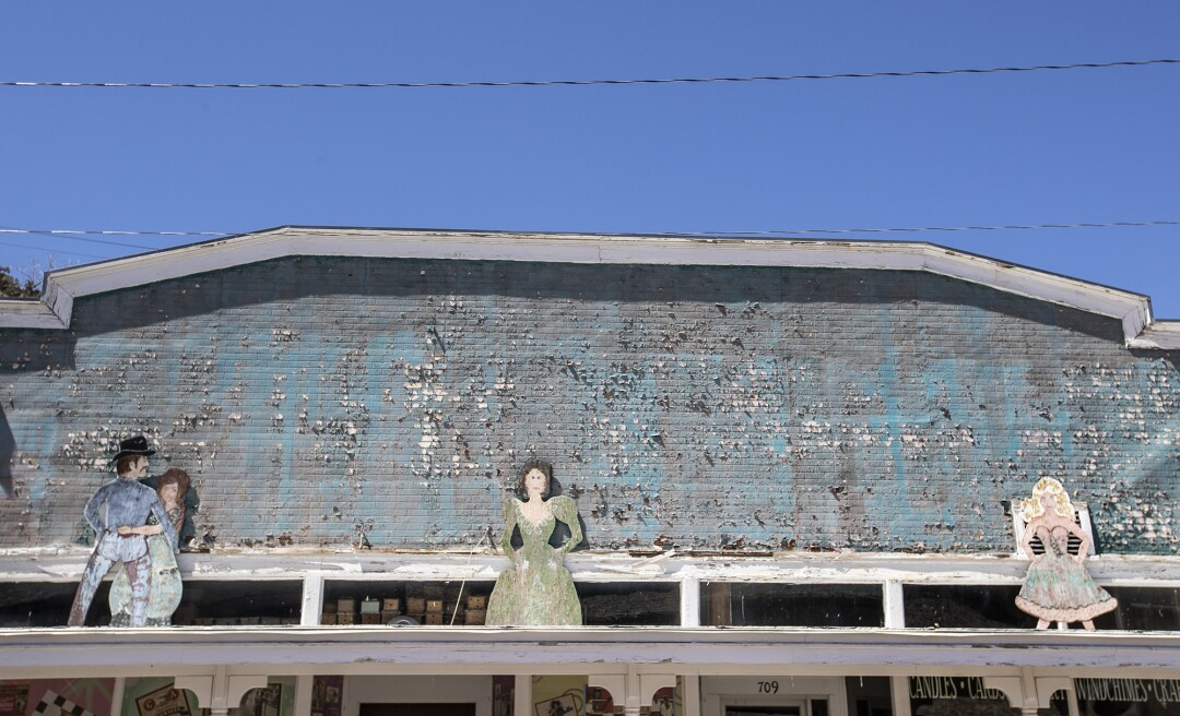 Peeling paint on an old dance hall on Main Street in Pioche, Nevada.