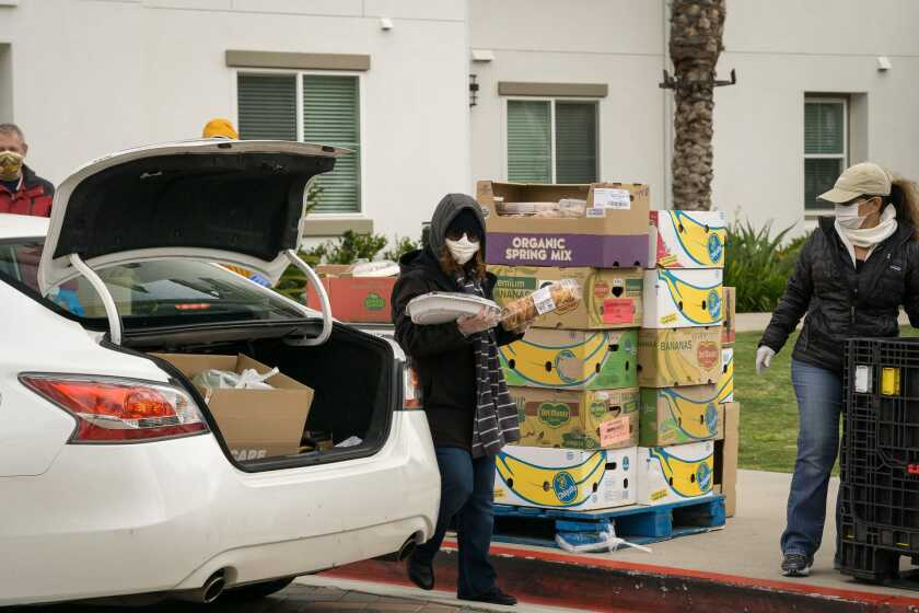 Saddleback's pop-up food drive is serving local families who have been impacted by the novel coronavirus pandemic.