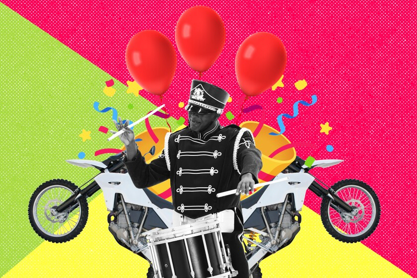 photo collage of a marching band member with balloons, motorcycles and confetti around him.