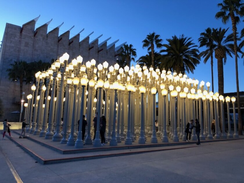 "Los Angeles County Museum of Art's ""Urban Light"" installation by Chris Burden provided some levity during the coronavirus outbreak."