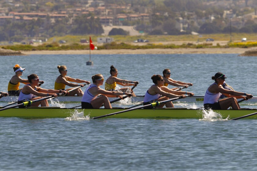 At the Crew Classic on Mission Bay on Sunday, the women from California (yellow) take first place in the women's collegiate varsity Jessop-Whittier Cup with the team from Washington coming in second place.