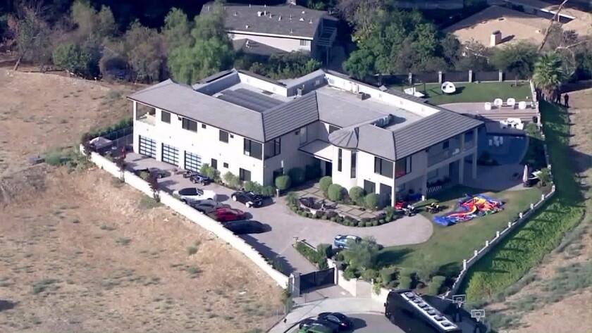 An aerial view of Chris Brown's Tarzana home.