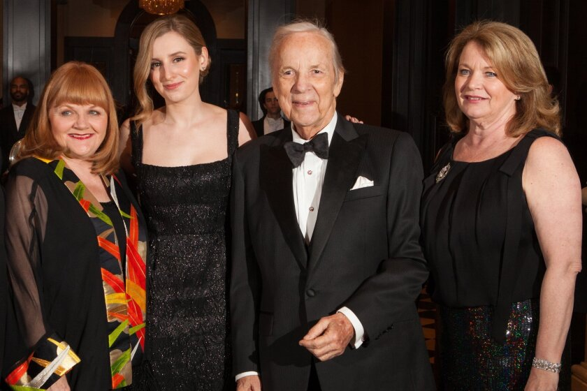 """""""Downton Abbey"""" stars Lesley Nicol and Laura Carmichael join Conrad Prebys and Debbie Turner at the KPBS gala at the US Grant last year."""