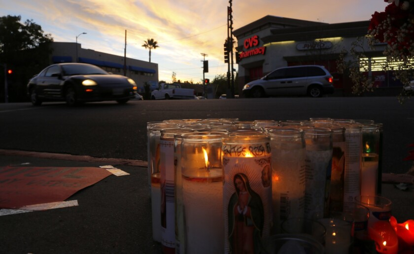 A memorial has been set up at the corner of Avenue 60 and Figueroa Street in Highland Park, where A 17-year-old Andres Perez of Montebello was struck and killed by a city service truck as he was crossing a street not far from his charter high school.