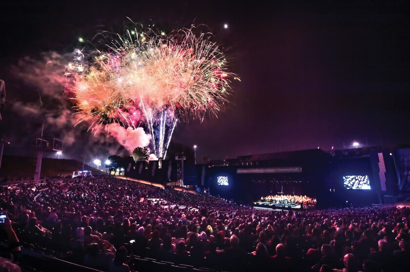 Fireworks during a previous Pacific Symphony performance at Pacific Amphitheatre