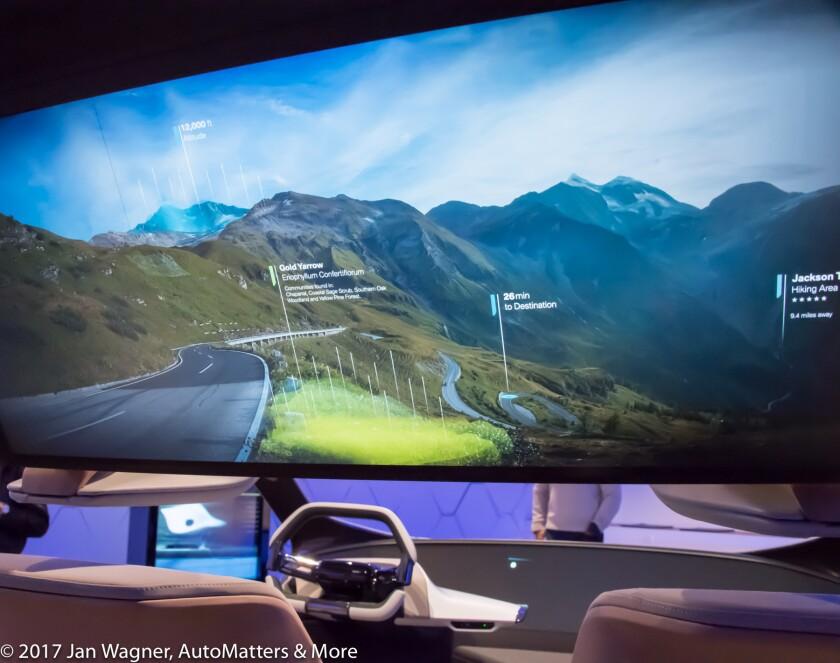Panoramic rear video screen