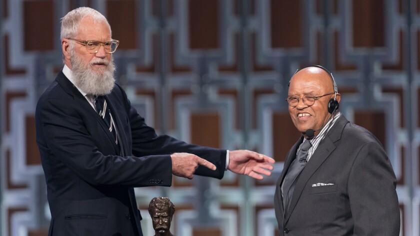 "David Letterman, left, and Biff Hendernon in ""David Letterman: The Mark Twain Prize"" on PBS."