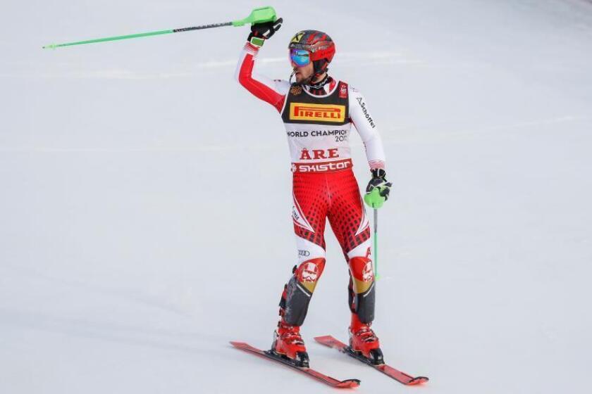 El austriaco Marcel Hirscher durante la última prueba de los Mundiales de esquí alpino de Are (Suecia). EFE
