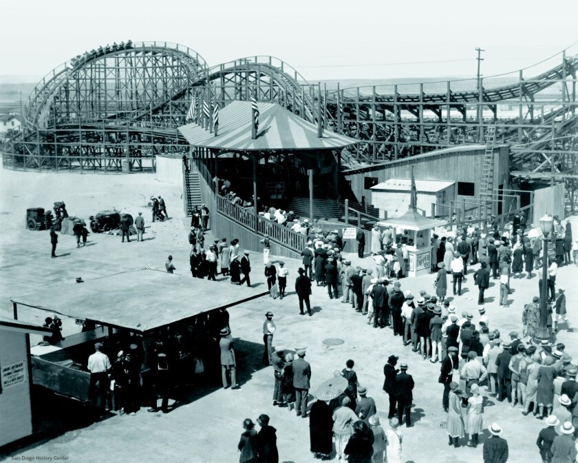 Belmont Park Crowds swarm Belmont Park on opening day in 1925. San Diego History Center