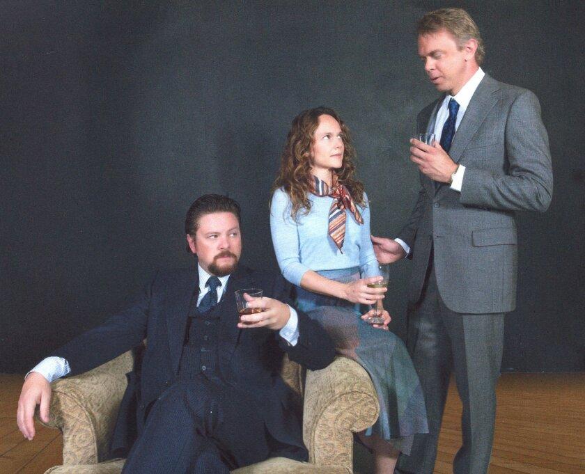 Robert (Richard Baird), Emma (Carla Harting) and Jerry (Jeffrey Farcé) in Harold Pinter's 'Betrayal' at North Coast Repertory Theatre. Photo by Aaron Rumley