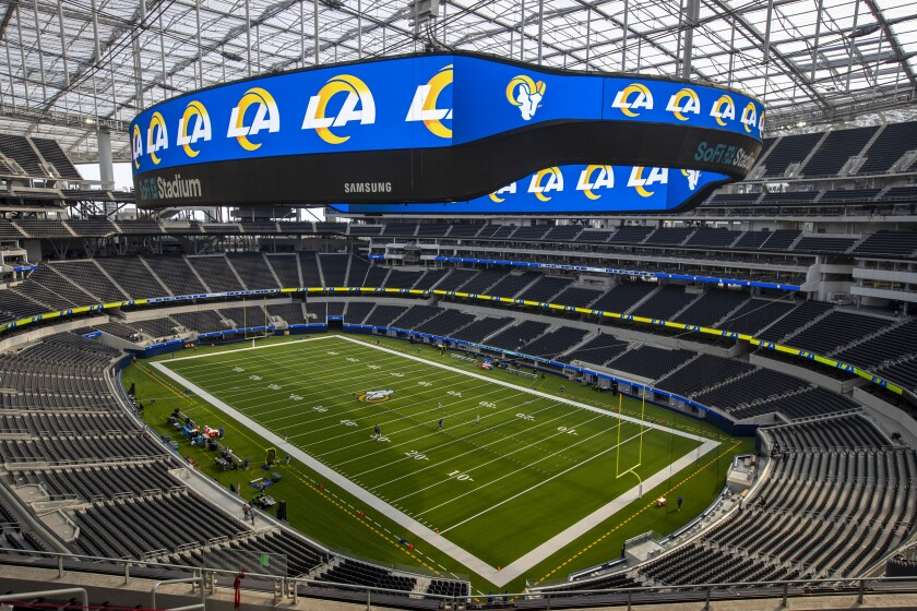 The Rams are scheduled to host the Dallas Cowboys on Sunday night in the first event to be held at SoFi Stadium in Inglewood.