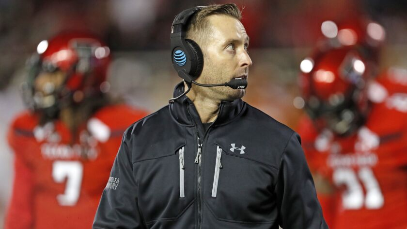 FILE - In this Nov. 10, 2018, file photo, Texas Tech Kliff Kingsbury walks off the field during the