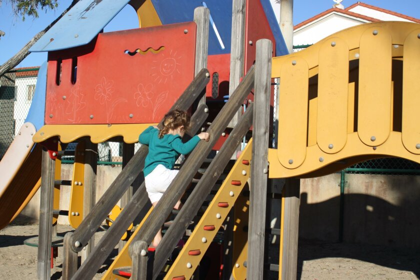 La Jolla Recreation Center's 'Tot Lot' used by children for decades, could use some sprucing up. Donations to the Rec Center Board can help.