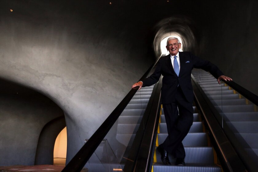 Eli Broad stands inside the Broad, a new contemporary art museum on Grand Avenue in Los Angeles on Aug. 17, 2015.