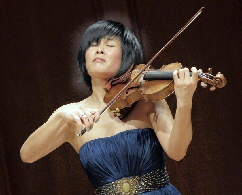 """Jennifer Koh, violin soloist in her """"Bach and Beyond Part II"""" recital at Hahn Hall, Music Academy of the West, in Montecito on April 24, 2013."""