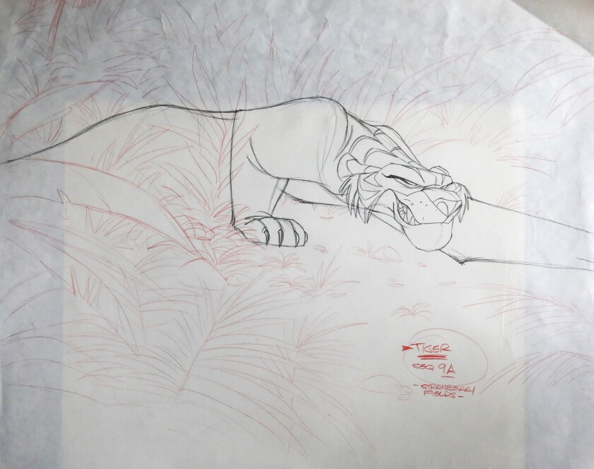 "Tiger, one of the characters Merghart sketched for ""Strawberry Fields. """