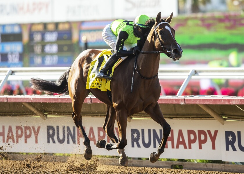 My Girl Red and jockey Flavien Prat win the Grade II, $150,000 Sorrento Stakes, Friday at Del Mar Thoroughbred Club.