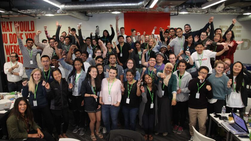 MENLO PARK, CA - AUGUST 28: All CHIMEHACK3 participants celebrate their completed projects at Faceb