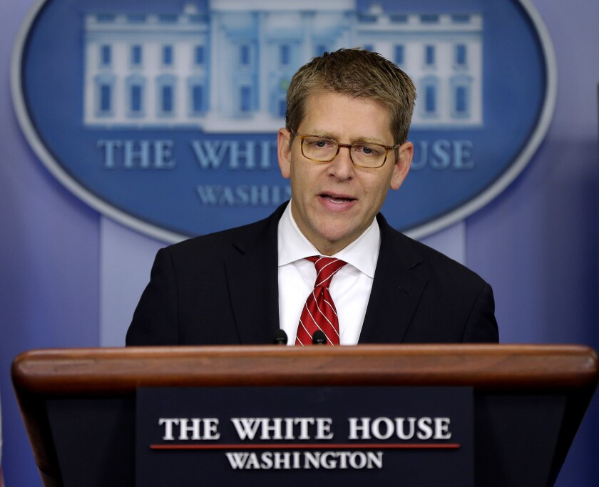 """White House Press Secretary Jay Carney speaks during his daily news briefing at the White House in Washington. Carney says the attacks in Egypt, Libya and elsewhere were a """"response not to United States policy, and not to, obviously, the administration, not to the American people,"""" but were rather a """"response to a video, a film we have judged to be reprehensible and disgusting."""""""