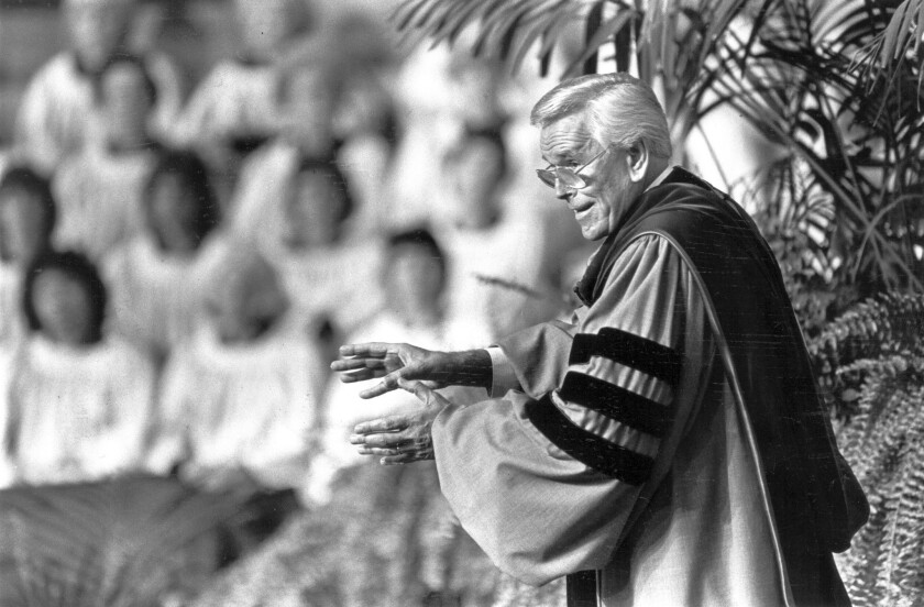 The Rev. Robert H. Schuller preaches at the Crystal Cathedral in Garden Grove in 1983.