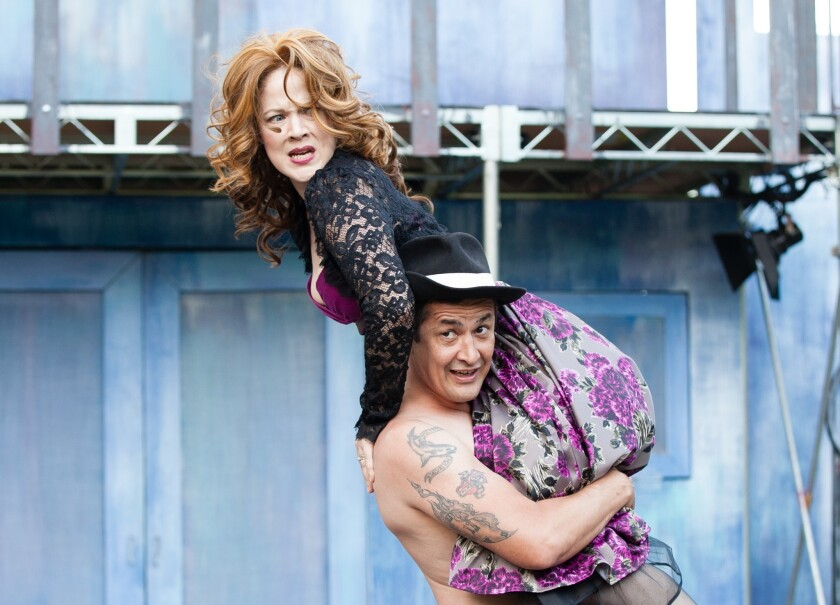 """Petruchio (Luis Galindo) displays his usual lack of respect for Kate (Melissa Chalsma) in Independent Shakespeare Co.'s """"The Taming of the Shrew"""" at Griffith Park."""