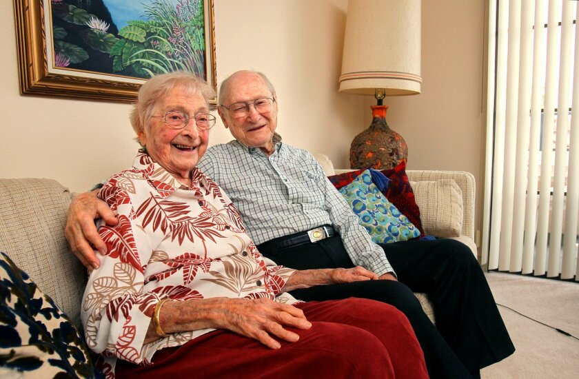 Portrait of Blanche and Sam Weiss at home in their San Marcos assisted living community. They will soon have their 80th. wedding anniversary.